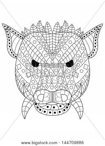 The head of a wild boar coloring book for adults vector illustration. Anti-stress coloring for adult. Zentangle style. Black and white pattern pig