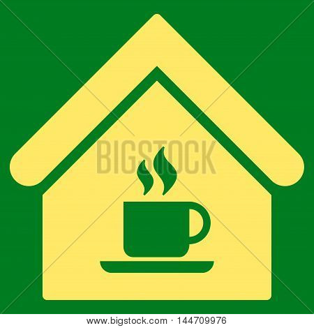 Cafe House icon. Vector style is flat iconic symbol, yellow color, green background.