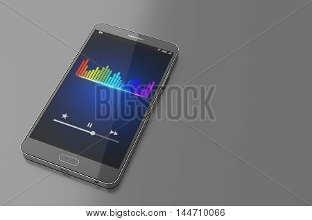 Smartphone with music equaliser bar on screen. 3D Illustration
