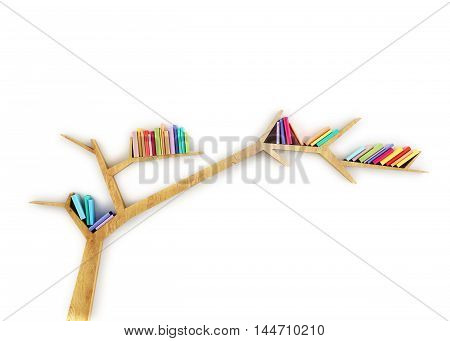 3D wooden branch shelf with colorful books isolated on white