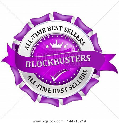 All time best sellers. Blockbusters - metallic purple business glossy icon / label.