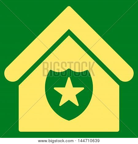 Realty Protection icon. Vector style is flat iconic symbol, yellow color, green background.