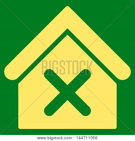 Wrong House icon. Vector style is flat iconic symbol, yellow color, green background.