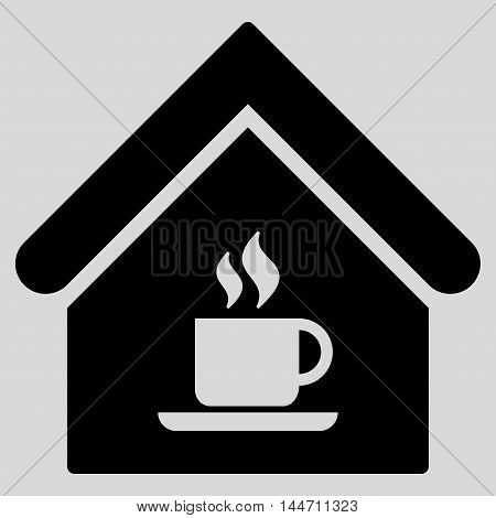 Cafe House icon. Vector style is flat iconic symbol, black color, light gray background.