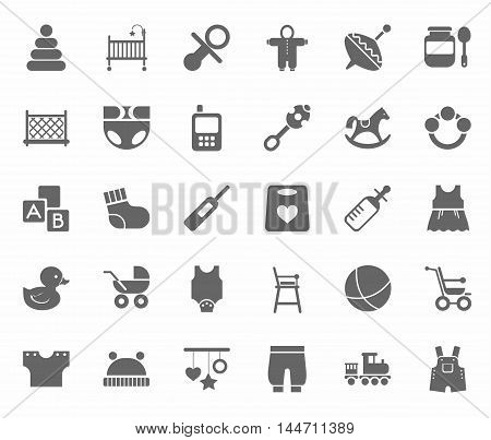 Children's products, monochrome, flat icons. Clothes, toys and personal items for newborns and young children. Gray icons on white background.