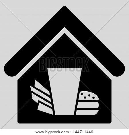 Fastfood Cafe icon. Vector style is flat iconic symbol, black color, light gray background.