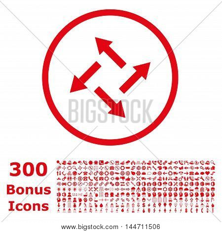 Centrifugal Arrows rounded icon with 300 bonus icons. Glyph illustration style is flat iconic symbols, red color, white background.