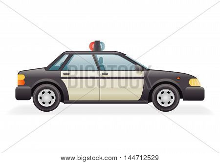 Retro Police Car Icon Isolated Realistic Design Vector Illustration