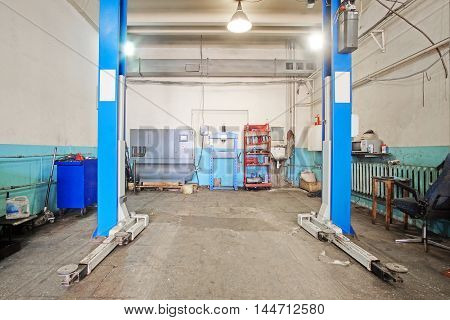 Interior of a car repair garade