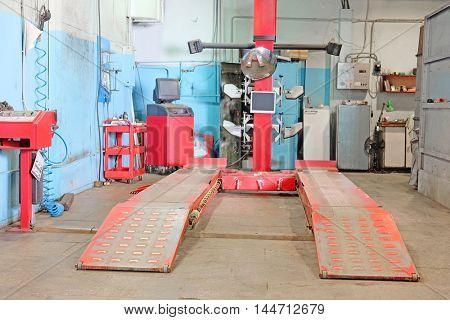 Interior of a car repair garade