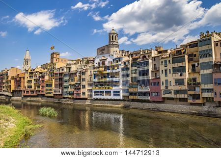 Colorful houses against sky in Girona Catalonia Spain