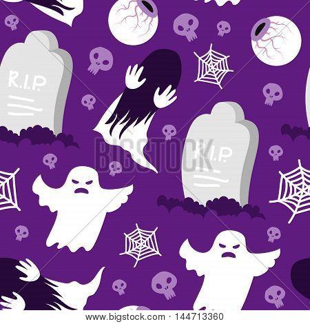 Seamless pattern halloween skull spiderweb RIP ghost ring