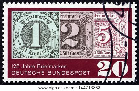 GERMANY - CIRCA 1965: a stamp printed in the Germany shows Stamps of Thurn and Taxis 125th Anniversary of the Introduction of Postage Stamps in Great Britain circa 1965