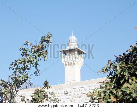 Jerusalem Israel - January 13 2008: Al-Fakhariyya Minaret of Al-Aqsa Mosque.