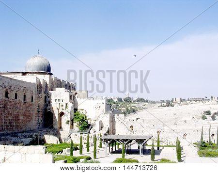 Jerusalem Israel - April 26 2005: Al-Aqsa Mosque and Mount of Olives.
