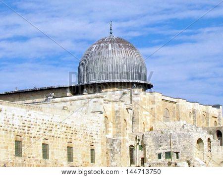 Jerusalem Israel - December 2 2012: Dome of Al-Aqsa Mosque.