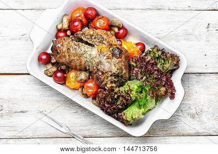 Meatloaf In Vegetables And Fruits