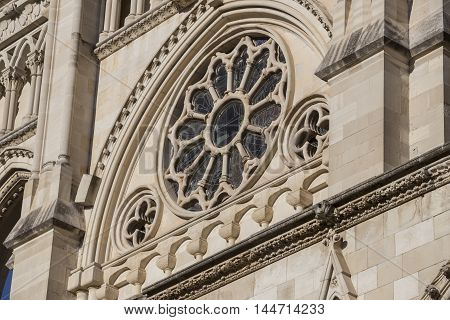 Detail of facade of the Cuenca's Cathedral The cathedral is dedicated to St Julian gothic english-norman style XII century