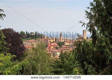 Panorama Of Upper City Citta Alta In Bergamo, Italy