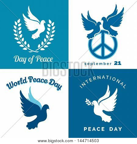 Design set of International day of Peace. Dove of Peace pacific sign laurel wreath and branch.