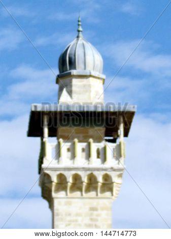 Jerusalem Israel - December 2 2012: The top of minaret of Al-Aqsa Mosque in the old city.