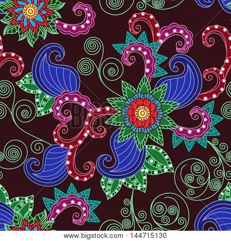 Ornamental seamless floral vector pattern with colorful leaves and flowers on the dark bordoux background