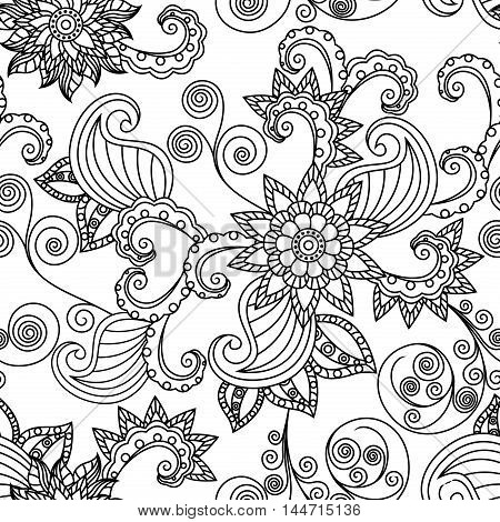Ornamental seamless floral vector pattern with black outlines of leaves and flowers on the white background
