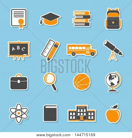 School icons stickers isolated on blue background. Education icons collection. Back to school. College training icons symbols in flat style