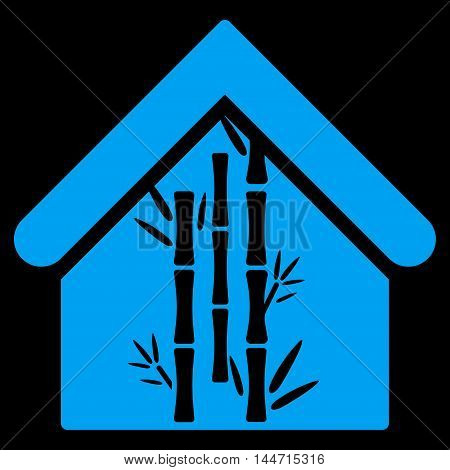 Bamboo House icon. Glyph style is flat iconic symbol, blue color, black background.