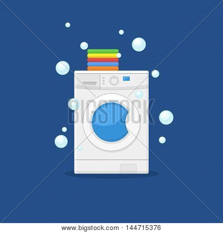 Washing machine and towels linen isolated on blue background. Equipment housework laundry wash clothes. Washer and flying bubbles in flat style.