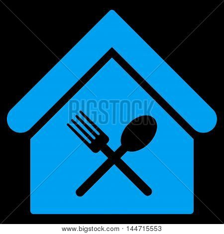 Food Court icon. Glyph style is flat iconic symbol, blue color, black background.