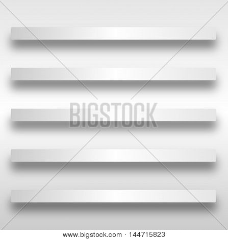 A set of 5 kitchen or book shelves in grey with shadow over a white background