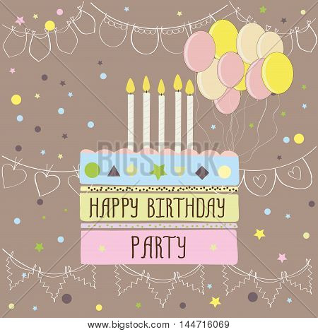 Happy birthday party , cute card with cake, balloons and candles. Vector illustration