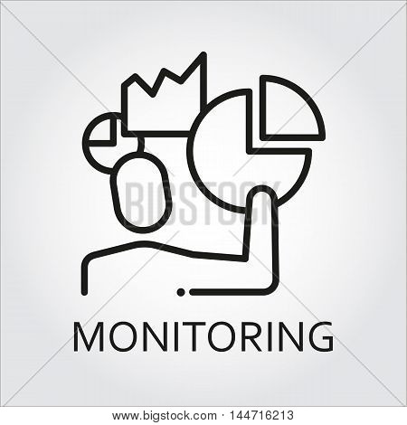 Black flat line vector icon with a picture of monitoring as men and chart, diagram on white background.