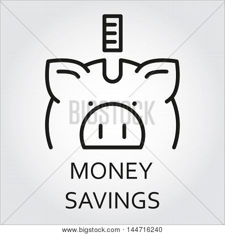 Black flat line vector icon with a picture of money saving as piggy-bank on white background.