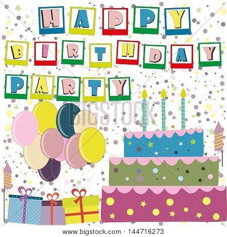 Vector happy birthday card. Birthday cake. Vector Illustration.Colorful birthday.