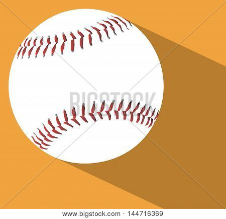 A new white baseball with red stitching on a sand background with shadow area