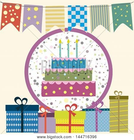 Happy birthday picture, flags, cake, gifts. Vector illustration