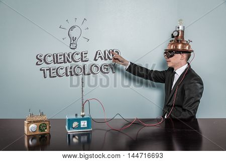 Science And Technology concept with vintage businessman pointing hand