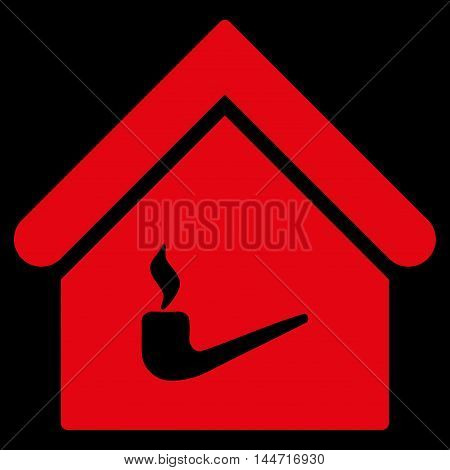 Smoking Room icon. Glyph style is flat iconic symbol, red color, black background.