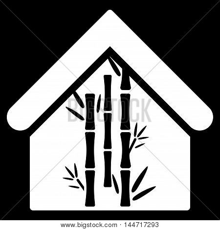 Bamboo House icon. Glyph style is flat iconic symbol, white color, black background.