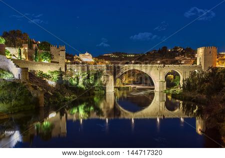 San Martin's Bridge (Puente de San Martin) at night in Toledo Castilla-La Mancha Spain