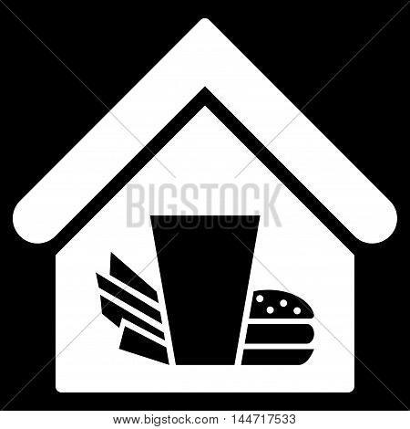 Fastfood Cafe icon. Glyph style is flat iconic symbol, white color, black background.