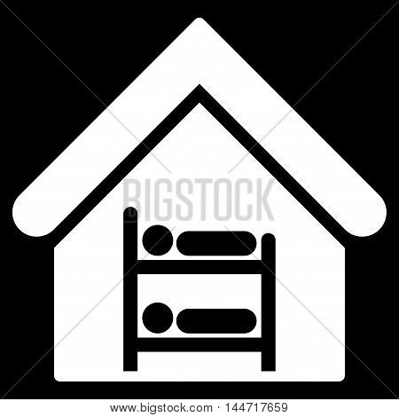 Hostel icon. Glyph style is flat iconic symbol, white color, black background.