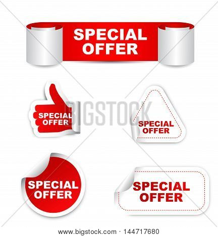 This is red set vector paper stickers special offer