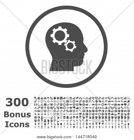 Brain Gears rounded icon with 300 bonus icons. Vector illustration style is flat iconic symbols, gray color, white background.