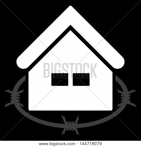 Prison Building icon. Glyph style is flat iconic symbol, white color, black background.