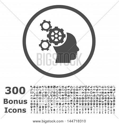 Brain Mechanics rounded icon with 300 bonus icons. Vector illustration style is flat iconic symbols, gray color, white background.