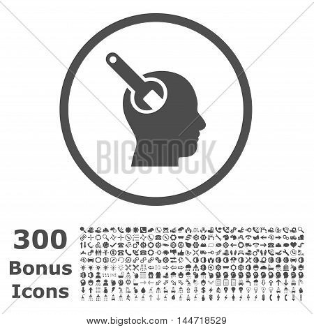 Brain Tool rounded icon with 300 bonus icons. Vector illustration style is flat iconic symbols, gray color, white background.
