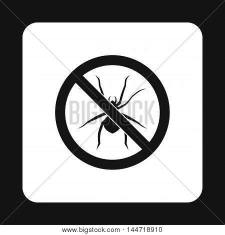Prohibition sign spiders icon in simple style isolated on white background. Warning symbol